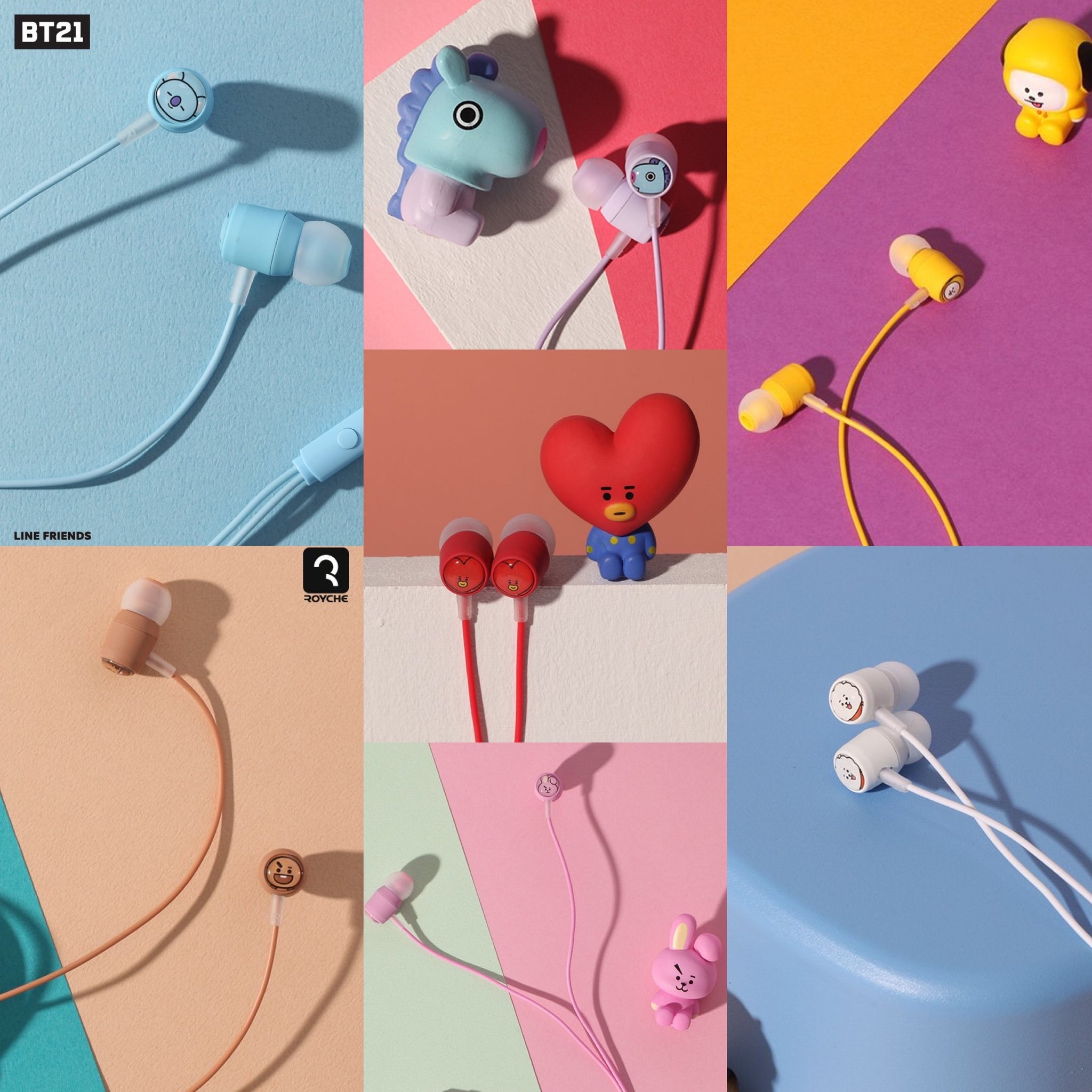 BT21 Official Wired Earphone with Remote & Mic