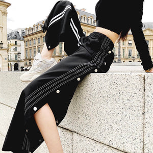 [ASIAN FASHION] Side Buttons Pants 02