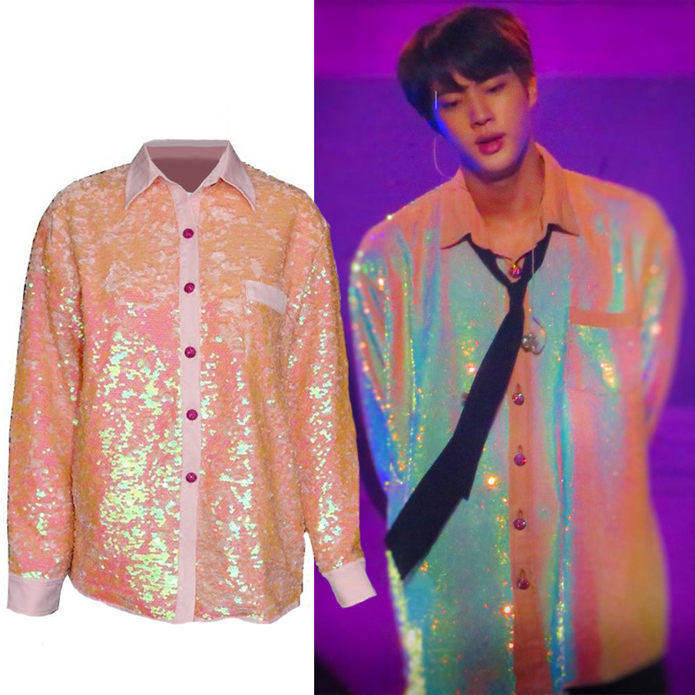 [BTS] Jin ''Pink Sequin'' Long Sleeve Shirt