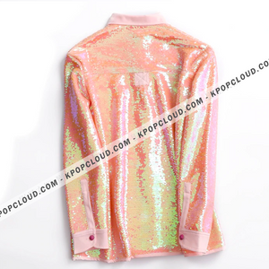BTS STYLE - Jin Pink Sequined Shirt
