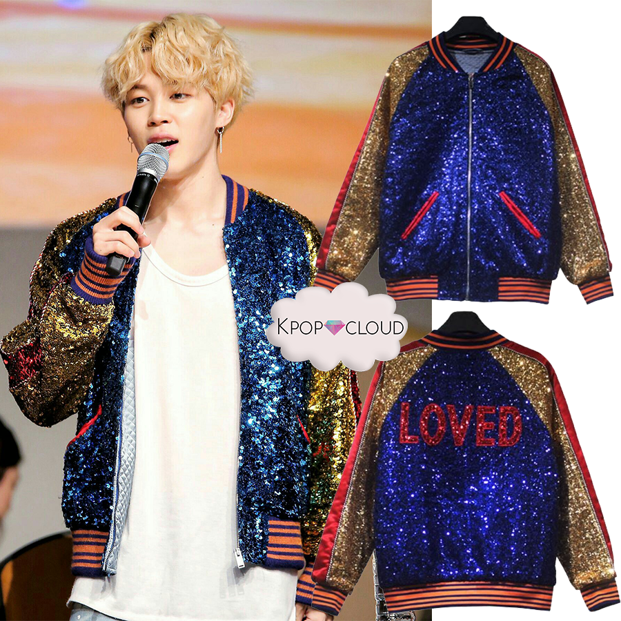 BTS STYLE - Jimin ''DNA Style'' Sequined Bomber Jacket