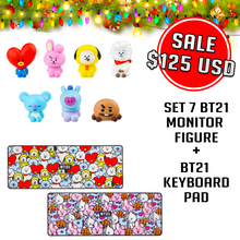 Load image into Gallery viewer, [Sale] Set 7 BT21 Monitor Figure + BT21 Keyboard Pad
