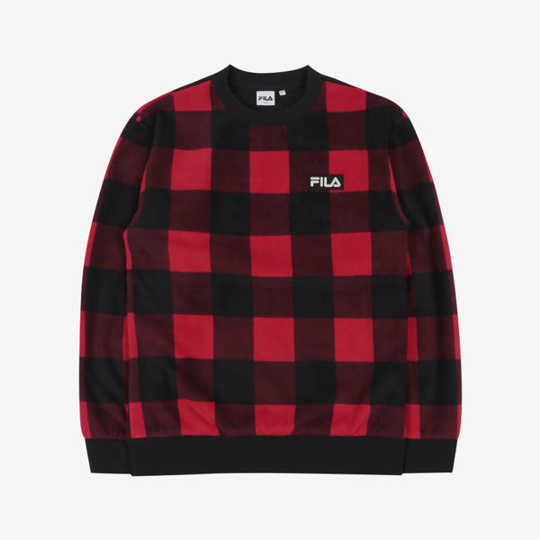 FILA X BTS - Check Boa Sweatshirt Dark Red