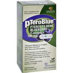 Genceutic Naturals pTeroBlue Pterostilbene - 100 mg - 60 Vcaps