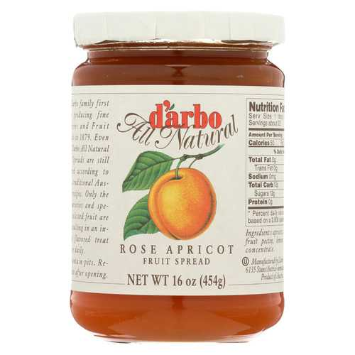 D'Arbo All Natural Fruit Spread - Rose Apricot - Case of 6 - 16 oz.