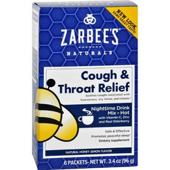 Zarbee's Cough and Throat Relief Drink Mix  Nighttime Supplement  6 Packets