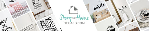 Banner with various wall decals arranged around a central image that says 'Story Of Home Decals.com'