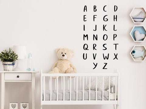 Wall decal for kids that has the alphabet listed on a nursery wall.