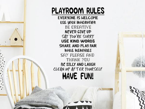 Wall decals for kids that says 'Playroom Rules' on a kids playroom wall.