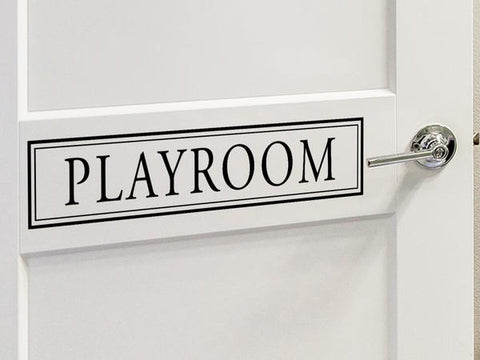 Wall decal for kids that says 'Playroom' on a kid's room door.
