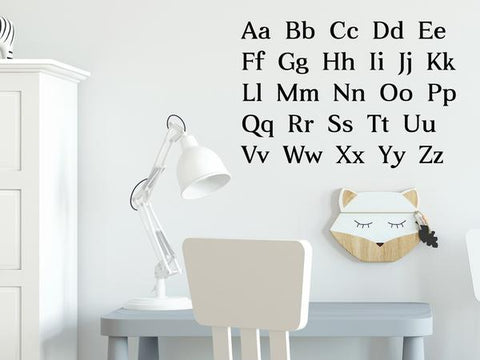 Wall decal for kids that lists the alphabet on a kid's room wall.