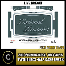 Load image into Gallery viewer, 2018 PANINI NATIONAL TREASURES FOOTBALL 2 BOX (1/2 CASE BREAK) #F100 PICK TEAM -