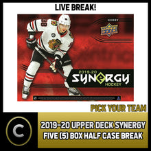 Load image into Gallery viewer, 2019-20 UPPER DECK SYNERGY HOCKEY 5 BOX (HALF CASE) BREAK #H941 - PICK YOUR TEAM