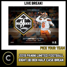 Load image into Gallery viewer, 2019 PANINI LIMITED FOOTBALL 7 BOX (HALF CASE) BREAK #F378 - PICK YOUR TEAM