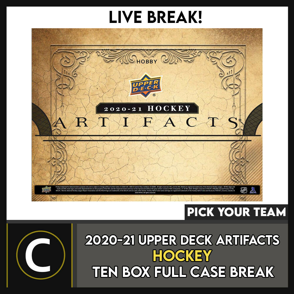 2020-21 UPPER DECK ARTIFACTS HOCKEY 10 BOX CASE BREAK #H1108 - PICK YOUR TEAM