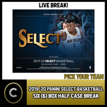Load image into Gallery viewer, 2019-20 PANINI SELECT BASKETBALL 6 BOX (HALF CASE) BREAK #B476 - PICK YOUR TEAM