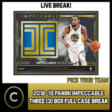 Load image into Gallery viewer, 2018-19 PANINI IMPECCABLE BASKETBALL 3 BOX (CASE) BREAK #B128 - PICK YOUR TEAM