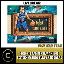 Load image into Gallery viewer, 2018-19 PANINI COURT KINGS BASKETBALL 16 BOX (CASE) BREAK #B132 - PICK YOUR TEAM