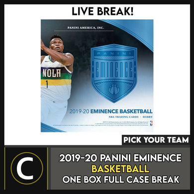2019-20 PANINI EMINENCE BASKETBALL 1 BOX FULL CASE BREAK #B545 - PICK YOUR TEAM