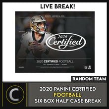 Load image into Gallery viewer, 2020 PANINI CERTIFIED FOOTBALL 6 BOX (HALF CASE) BREAK #F521 - RANDOM TEAMS