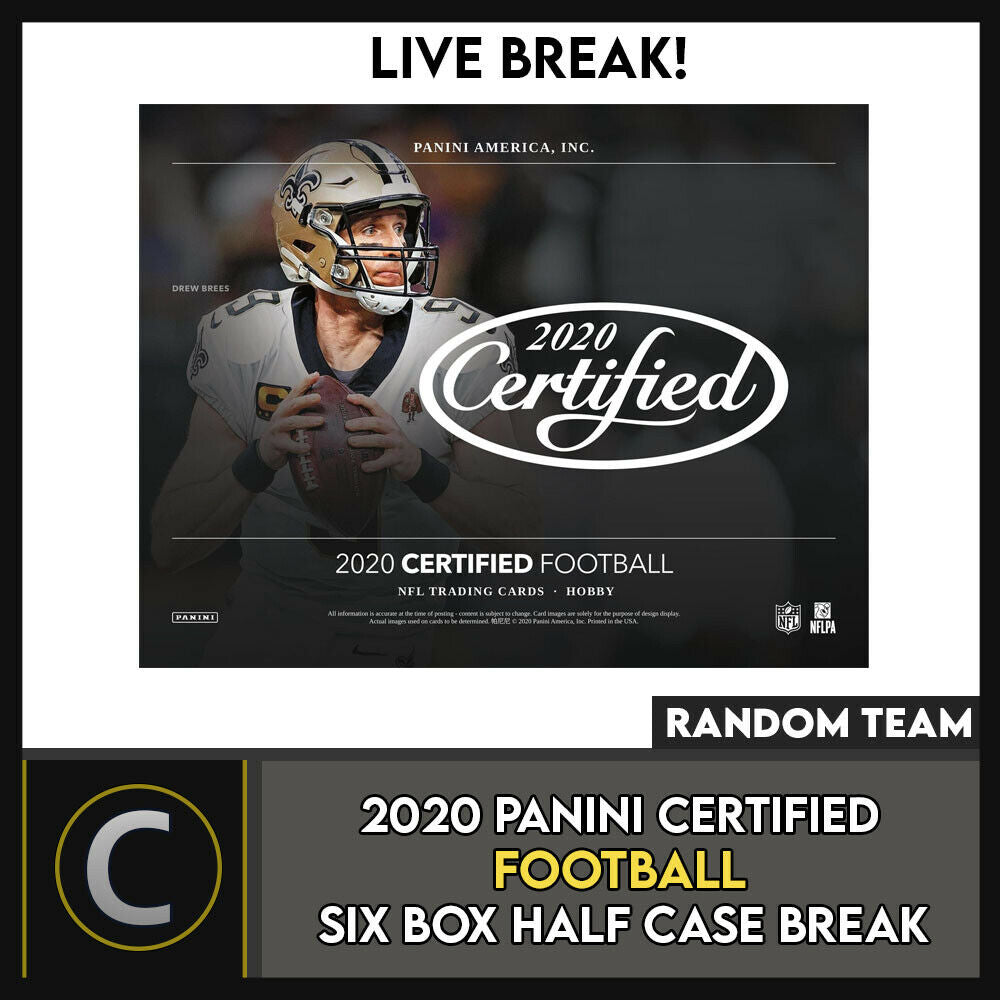 2020 PANINI CERTIFIED FOOTBALL 6 BOX (HALF CASE) BREAK #F521 - RANDOM TEAMS