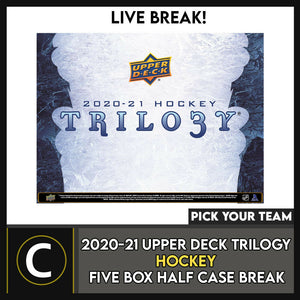 2020-21 UPPER DECK TRILOGY HOCKEY 5 BOX HALF CASE BREAK #H1092 - PICK YOUR TEAM