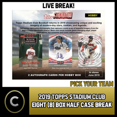 2019 TOPPS STADIUM CLUB BASEBALL 8 BOX (HALF CASE) BREAK #A391 - PICK YOUR TEAM