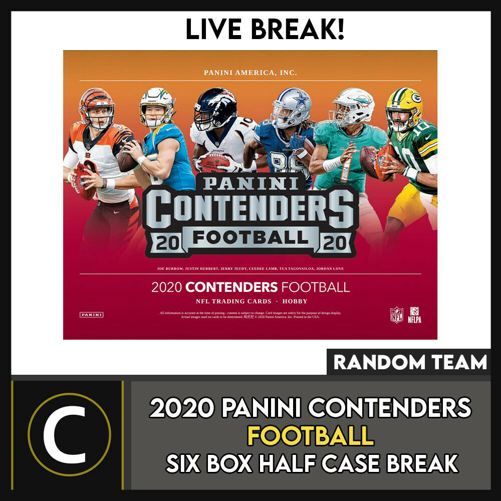 2020 PANINI CONTENDERS FOOTBALL 6 BOX (HALF CASE) BREAK #F641 - RANDOM TEAMS