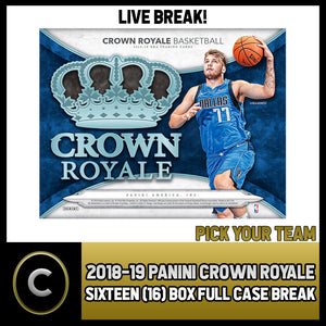 2018-19 PANINI CROWN ROYALE 16 BOX FULL CASE BREAK #B081 - PICK YOUR TEAM -