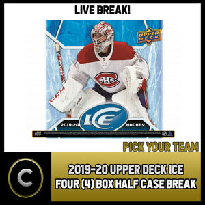 2019-20 UPPER DECK ICE HOCKEY 4 BOX (HALF CASE) BREAK #H888 - PICK YOUR TEAM
