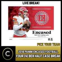 Load image into Gallery viewer, 2018 PANINI ENCASED FOOTBALL 4 BOX (HALF CASE) BREAK #F289 - PICK YOUR TEAM