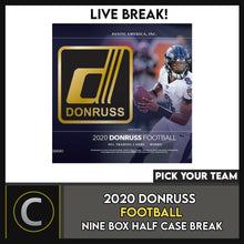 Load image into Gallery viewer, 2020 DONRUSS FOOTBALL 9 BOX (HALF CASE) BREAK #F538 - PICK YOUR TEAM