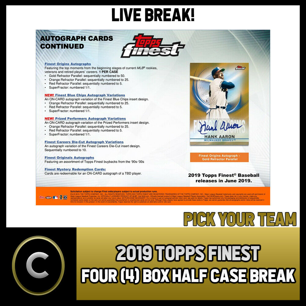2019 TOPPS FINEST BASEBALL 4 BOX (HALF CASE) BREAK #A801 - PICK YOUR TEAM