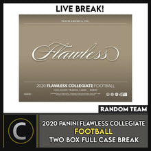 Load image into Gallery viewer, 2020 PANINI FLAWLESS COLLEGIATE 2 BOX (FULL CASE) BREAK #F593 - RANDOM TEAMS