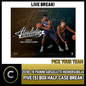 2018-19 PANINI ABSOLUTE 5 BOX (HALF CASE) BREAK #B127 - PICK YOUR TEAM -