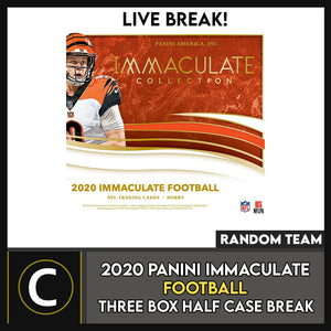 2020 PANINI IMMACULATE FOOTBALL 3 BOX (HALF CASE) BREAK #F620 - RANDOM TEAMS