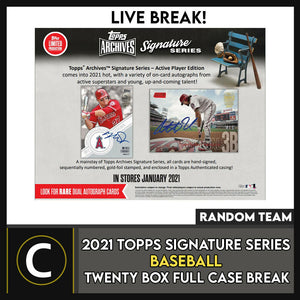 2021 TOPPS ARCHIVES SIGNATURE 20 BOX (FULL CASE) BREAK #A1046 - RANDOM TEAMS