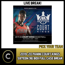 Load image into Gallery viewer, 2019-20 PANINI COURT KINGS 16 BOX (FULL CASE) BREAK #B374 - PICK YOUR TEAM