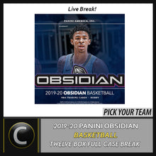 Load image into Gallery viewer, 2019-20 PANINI OBSIDIAN BASKETBALL 12 BOX FULL CASE BREAK #B435 - PICK YOUR TEAM