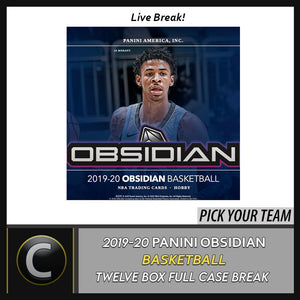 2019-20 PANINI OBSIDIAN BASKETBALL 12 BOX FULL CASE BREAK #B435 - PICK YOUR TEAM
