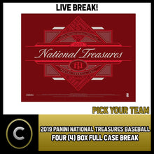 Load image into Gallery viewer, 2019 PANINI NATIONAL TREASURES 4 BOX (FULL CASE) BREAK #A451 - PICK YOUR TEAM