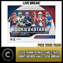 Load image into Gallery viewer, 2019 PANINI ROOKIE & STARS FOOTBALL 7 BOX HALF CASE BREAK #F374 - PICK YOUR TEAM