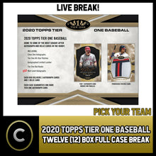 Load image into Gallery viewer, 2020 TOPPS TIER ONE BASEBALL 12 BOX (FULL CASE) BREAK #A716 - PICK YOUR TEAM