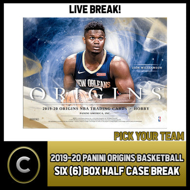2019-20 PANINI ORIGINS BASKETBALL 6 BOX (HALF CASE) BREAK #B272 - PICK YOUR TEAM