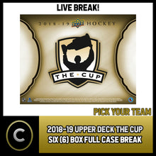 Load image into Gallery viewer, 2018-19 UPPER DECK THE CUP 6 BOX (FULL CASE) BREAK #H561 - PICK YOUR TEAM -