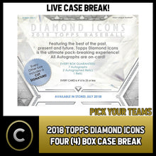 Load image into Gallery viewer, 2018 TOPPS DIAMOND ICONS 4 BOX FULL CASE BREAK #A114 - PICK YOUR TEAM