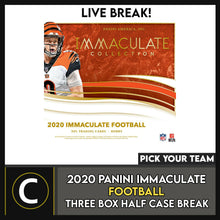Load image into Gallery viewer, 2020 PANINI IMMACULATE FOOTBALL 3 BOX (HALF CASE) BREAK #F647 - PICK YOUR TEAM