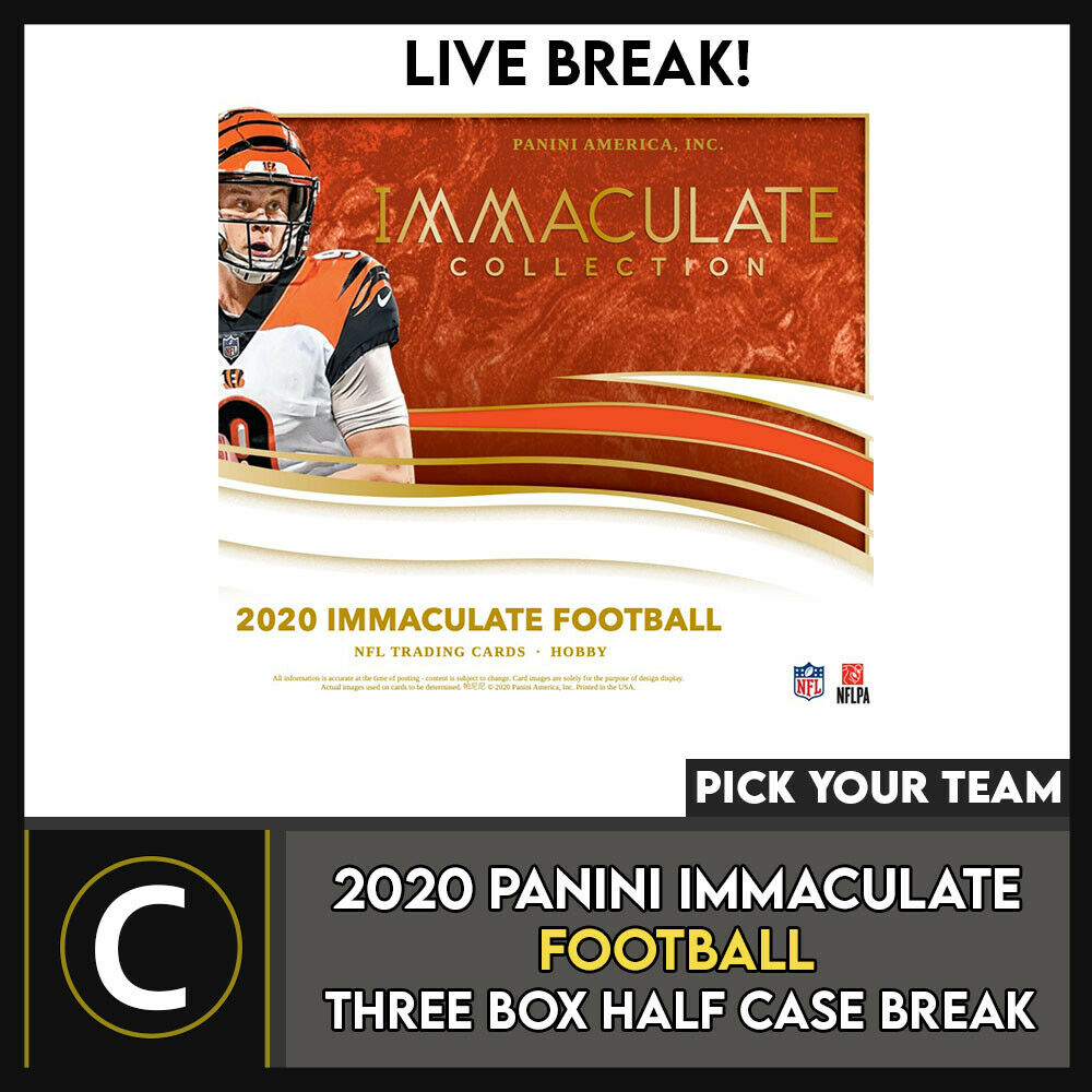 2020 PANINI IMMACULATE FOOTBALL 3 BOX (HALF CASE) BREAK #F647 - PICK YOUR TEAM