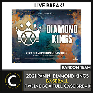 2021 PANINI DIAMOND KINGS BASEBALL 12 BOX FULL CASE BREAK #A1103 - RANDOM TEAMS