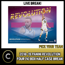 Load image into Gallery viewer, 2018-19 PANINI REVOLUTION 4 BOX (HALF CASE) BREAK #B150 - PICK YOUR TEAM -